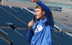 David Ball (Menlo '14) speaks to youth and their parents for Sports Hero Day at BYU. Every ...