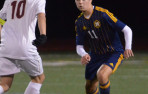 Menlo junior Marc Velten collected a goal and assist in Wednesday's 2-1 win at Crystal Springs.