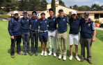 Menlo School won CCS Regional I at Laguna Seca Golf Ranch in Monterey on Monday. From left, Assistant Coach Gary Missel, S...