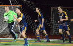 Menlo goalie Nolan Peterson and the Knights defeated Aptos and Harbor.