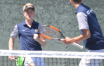 Menlo seniors Bo Leschly, left, and Clark Safran won at No1 doubles clinching the CCS final Friday in Los Gatos