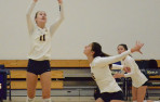 Menlo's Hanna Hoffman, shown setting Anna Guiragossian, collected 41 assists against Harker