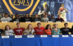 2018 senior college commitments: Top row, from left, Niko Bhatia (Brown water polo), Siddharth Chari (Dartmouth tennis), A...