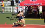 Menlo junior Charlotte Tomkinson topped her own state record in the 800, crossing the finish line...