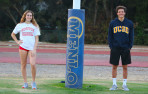 Ashley Scafetta (Boston University swimming) and Connor MacMitchell (UC-San Diego water polo) sig...