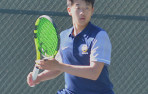 Menlo junior John Kim teamed with freshman Justin Tian for a three-set victory against Mitty at No. 1 doubles.