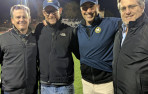 (Left to right) Ryan Enright '88, Jason Ward '88, Mark Newton '88, and Craig Weicker '88 meet at a Menlo playoff football ...