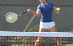 Menlo freshman Tricia Zhang won in straight sets against Notre Dame-Belmont