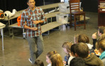 Ray Banatao '91 speaks to Menlo 8th graders about his career working with advanced plastics
