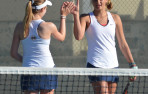 Junior Elisabeth Westermann, left, and freshman C.C. Golub picked up a straight-sets win at No. 2 doubles.