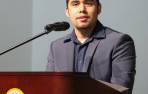 Antonio Lopez '12 speaks during assembly at Menlo School. Photo by Pete Zivkov.