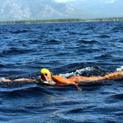 Knights junior Angel More swims Lake Tahoe on Saturday, the last leg of the Triple Crown of Marathon Swimming.