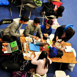 At MenloHacks III, held March 10-11, 2018, at the Athletic Center, students from Menlo and elsewhere collaborated on build...
