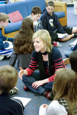 Working with Menlo middle school students. Photo by Pete Zivkov.