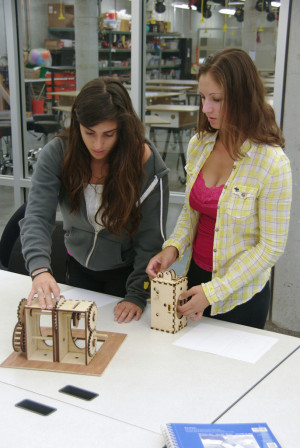 Menlo girls work on their engineering project