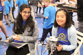 Menlo Middle School robotics team at the LEGO League competition. Photo by Frank Lau.