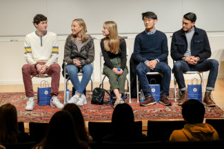Young alumni return to Menlo School to speak about their transition to college. Photo by Pete Ziv...