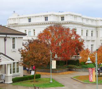 Stent Family Hall on campus autumn colors