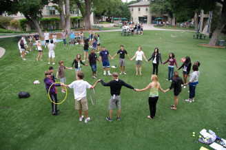 Freshmen orientation with the seniors class at Menlo School. Photo by Pete Zivkov.