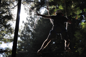 Ropes course at the Senior Retreat.