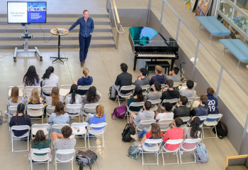 Matt Mettille presents to students at Menlo School. Photo by Pete Zivkov.