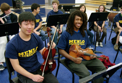 Menlo School's orchestra performs at assembly. Photo by Pete Zivkov.