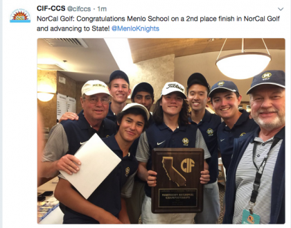 Menlo School boys' golf finished second, a stroke out of first, and earned a bid to the state championship on May 30, 2018.