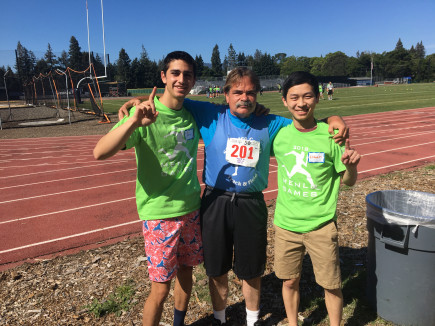 Menlo students with a Special Olympics athlete in 2019.