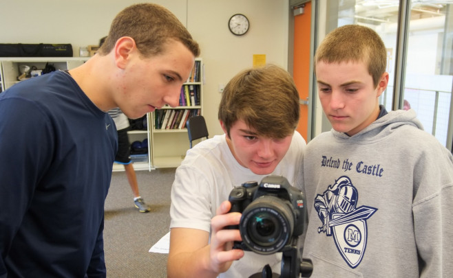 Menlo School students test new skills in moviemaking class. Photo by Pete Zivkov.
