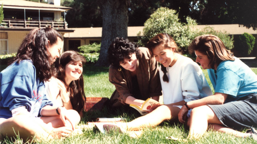 Students read together in 1989