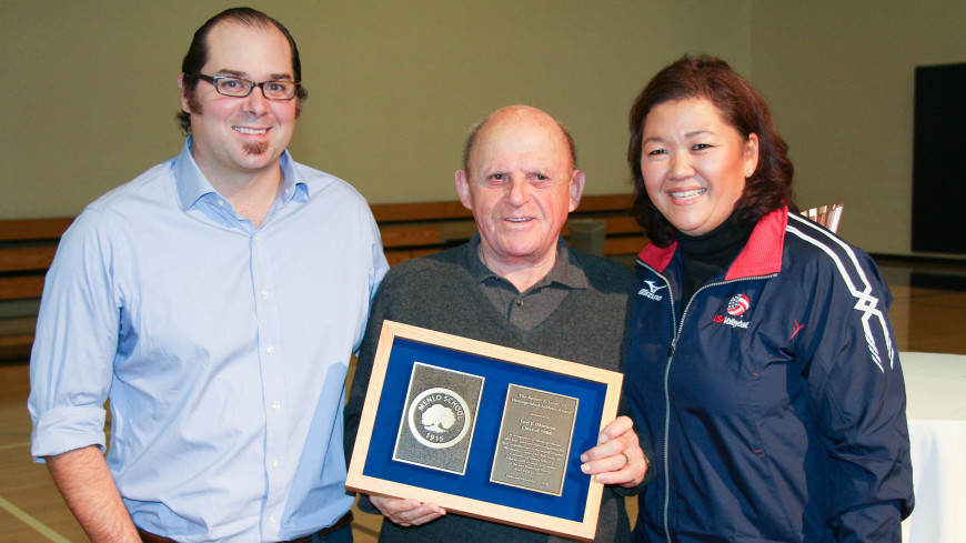 Chris Clark (left) and Bob Lurie '45 (center) present Lori Okimura with the Lurie Award