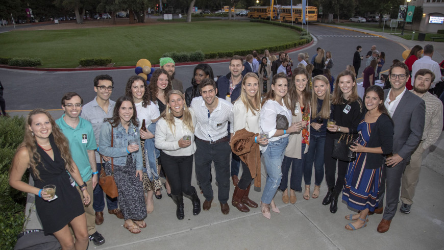 Members of Menlo's Class of 2008 gather on campus for their 10-year reunion.
