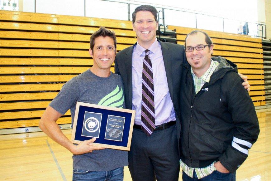Nick Woodman (left), founder of GoPro, accepts the Bob Lurie Athletic Award at Menlo School, accompanied by Menlo Head of School Than Healy (center) and Chris Clark (right)