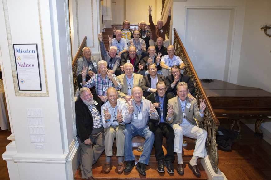 Menlo's Class of 1968 gathered in Spieker Ballroom for their 50th reunion