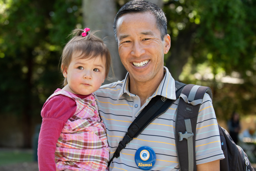 Gary Chan '84 and his daughter at the Menlo Easter Egg Hunt