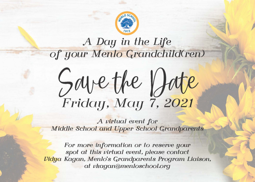 May 7, 2021 Grandparents Event save-the-date card