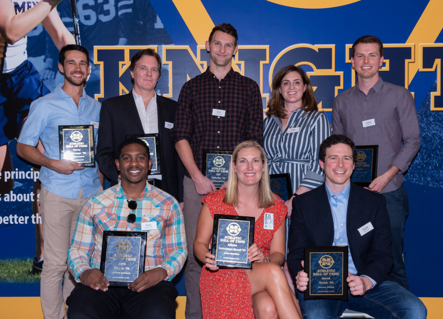 2019 Menlo Athletic Hall of Fame inductees (back row, left to right) Kenny Diekroeger '09, David ...