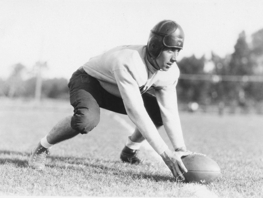 A Menlo football player in November 1930